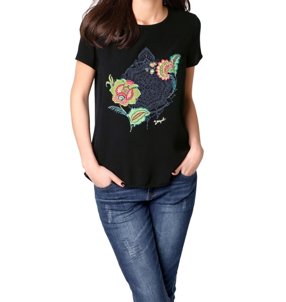 Damen Desigual T-Shirt mit Flockprint Trendstarker Print GR. M