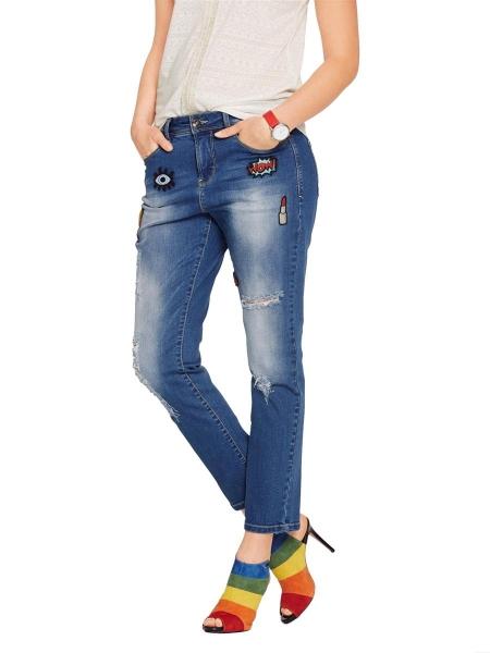 Boyfriend Jeans mit Patches Top Moderne Knöchellänge